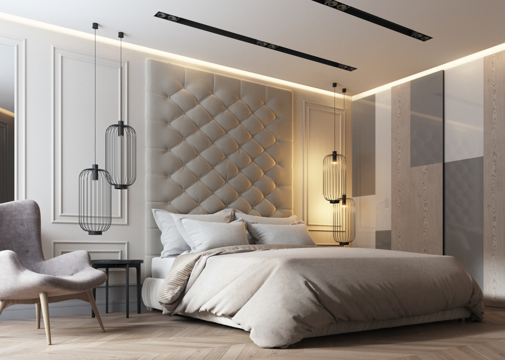 modern glam sophisticated bedroom